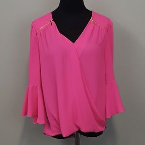 INC international concepts pink bell sleeve blouse